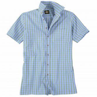 Kariertes Trachtenhemd, kurzarm blau_BLAU/GRÜN | 5XL