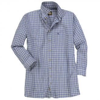 Traditionelles Trachtenhemd mit dezenter Hirsch-Stickerei, langarm blau/grau_BLAU/GRAU | 3XL