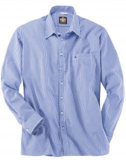 Kariertes Trachtenhemd blau_BLAU/WEIß | 6XL