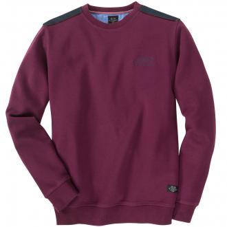 Sweatshirt mit Schulterbesatz weinrot_4000 | 6XL