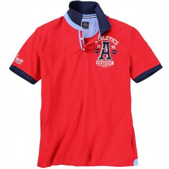 "Poloshirt mit ""Athletics"" Print rot_4002 | 8XL"