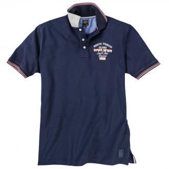 Bequemes Poloshirt mit Print dunkelblau_210 | 4XL
