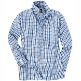 Kariertes Trachtenhemd langarm blau_BLAU/BLAU | 3XL