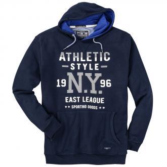 "Trendstarker Kapuzen-Hoodie mit ""Athletic-Style-NY""-Schriftzug dunkelblau_210 | 5XL"