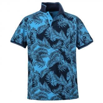 64d56436a4a237 Poloshirt mit floralem Allover-Print, kurzarm dunkelblau_210 | 3XL