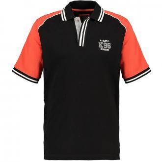 Strukturiertes Poloshirt mit farbigen Ärmeln schwarz_100 | 3XL