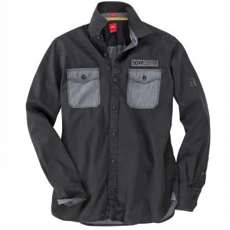 Langarmhemd mit kontrastfarbenen Brusttaschen schwarz/schwarz_9897 | 3XL