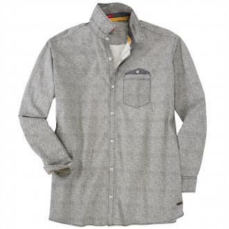 Modisch gemustertes Freizeithemd langarm schwarz/weiß_59A40 | 3XL
