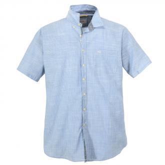 Lässiges Freizeithemd mit dezentem Strukturmuster, kurzarm blau_12 | 5XL