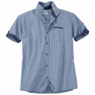 Kariertes Freizeithemd mit kurzem Arm blau_58N1 | 3XL