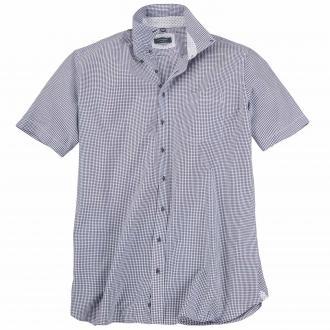 Schickes Seersuckerhemd mit kurzem Arm blau/weiß_180 | 46