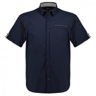 Strukturiertes Freizeithemd mit Strechanteil, kurzarm marine_5882   3XL