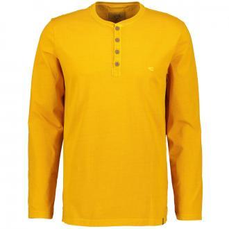 T-Shirt mit Serafino-Kragen, langarm gelb_62 | 3XL