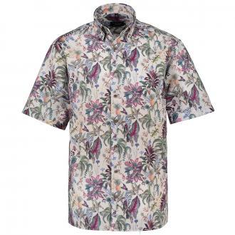 Freizeithemd mit floralem All-Over Print, kurzarm grün/weiß_46/6020 | 46