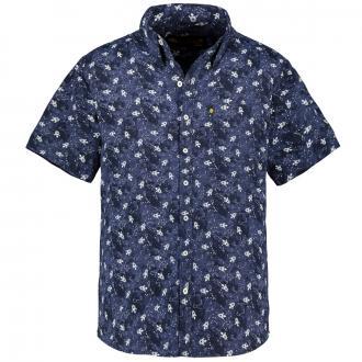 Baumwoll-Freizeithemd mit Raketen-Print, kurzarm dunkelblau_DUNKELBLAU | 3XL