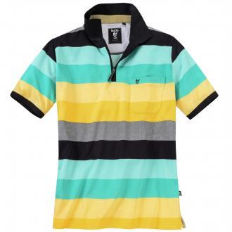 Poloshirt mit modischen Streifen kurzarm schwarz_100 | 3XL