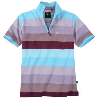 Poloshirt mit modischen Streifen kurzarm türkis_606 | 3XL