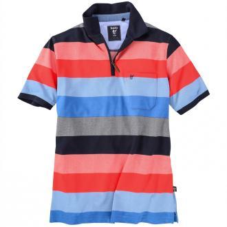 Poloshirt mit modischen Streifen kurzarm blau/rot_609/1 | 3XL