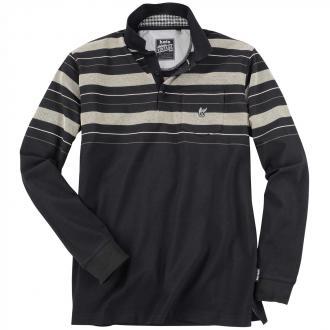 Ansprechendes Poloshirt im Streifen-Design, langarm schwarz_100 | 4XL