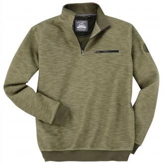 Lässiges Troyer-Sweatshirt in Melange-Optik oliv_502 | 4XL