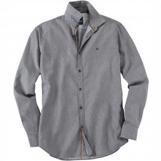 Modernes Langarmhemd mit Allover-Print grau_269 | 3XL