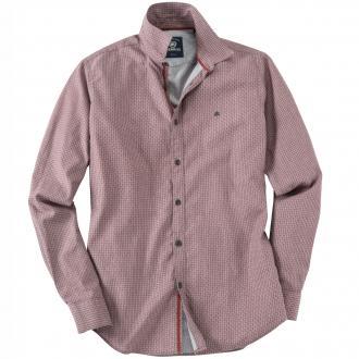Modernes Langarmhemd mit Allover-Print anthrazit/rot_355 | 3XL