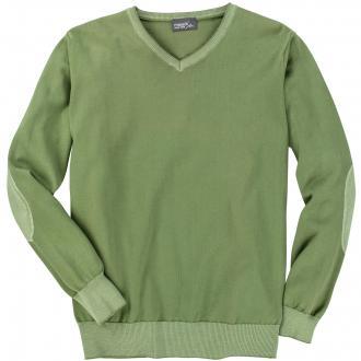 Bequemer Pullover mit V-Ausschnitt grasgrün_538 | 3XL