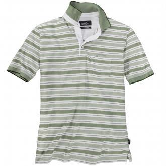 Gestreiftes Poloshirt kurzarm grün/weiß_5380 | 3XL