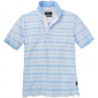 Gestreiftes Poloshirt kurzarm blau/weiß_6210 | 3XL