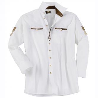 Trachtenhemd mit Velourapplikationen,  langarm weiß_01 | 3XL
