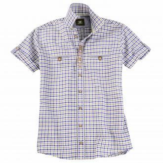 Kariertes Trachtenhemd,  kurzarm blau/weiß_69 | 3XL