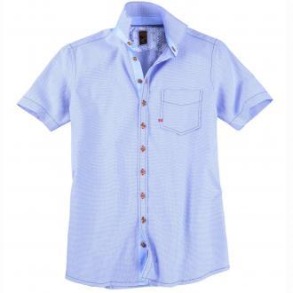 Dezent gemustertes Trachtenhemd, kurzarm blau_42 | 3XL