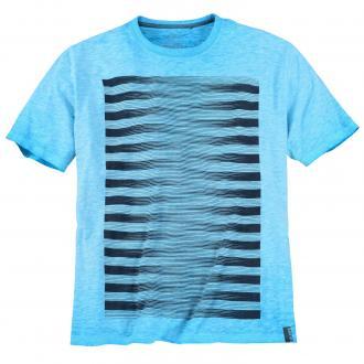 T-Shirt mit Streifen-Print türkis_62G1 | 3XL