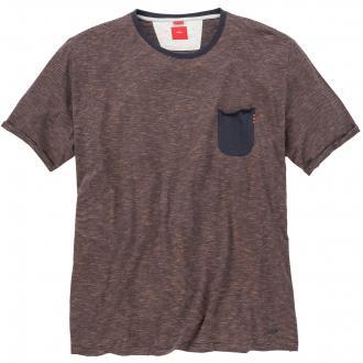 T-Shirt mit feinem Streifenmuster jeansblau_58G0 | 5XL