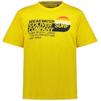 Lässiges T-Shirt mit Surf-Print gelb_13A1 | 3XL