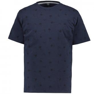 T-Shirt mit sommerlichem All-Over-Print blau_58A1 | 3XL