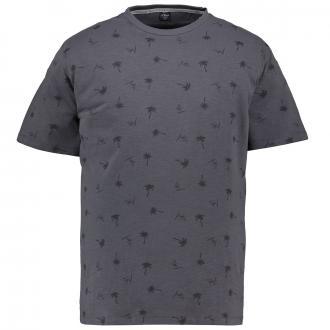 T-Shirt mit sommerlichem All-Over-Print tiefschwarz_98A1 | 3XL