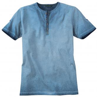 T-Shirt in verwaschener Optik kurzarm blau_19 | 5XL