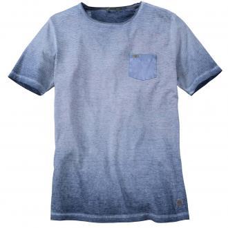 T-Shirt in verwaschener Streifen-Optik kurzarm blau_16 | 6XL