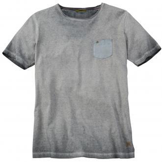 T-Shirt in verwaschener Streifen-Optik kurzarm grau_37 | 5XL