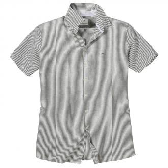 Gestreiftes Freizeithemd mit Leinenanteil, kurzarm khaki_330   3XL