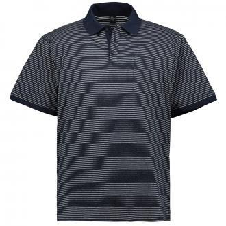 Gestreiftes Poloshirt mit Brusttasche, kurzarm dunkelblau_58G1 | 3XL
