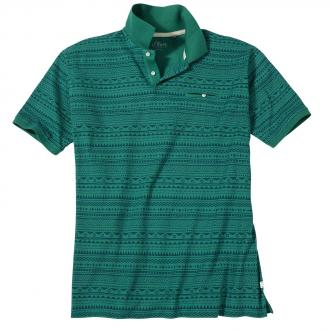 Lässiges Poloshirt mit Musterprint, kurzarm grün_76A0 | 3XL