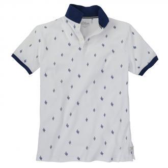 Sportives Poloshirt mit dekorativem Allover-Print weiß_01A0 | 3XL