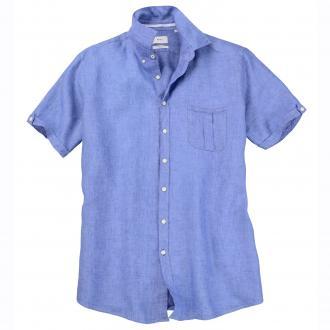 Luftiges Leinenhemd mit kurzem Arm hellblau_270 | 3XL