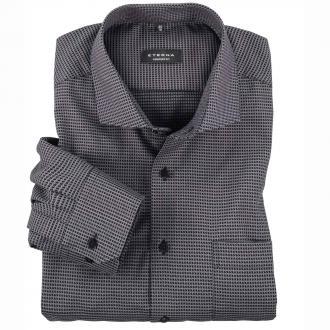 Business-Hemd im modernen Hahnentrittmuster, langarm grau/schwarz_3900 | 45