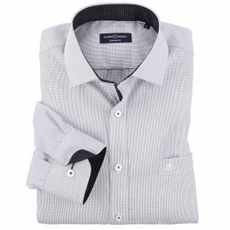 Dezent kariertes City-Hemd mit dekorativen Einsätzen, langarm schwarz/weiß_8000 | XXL