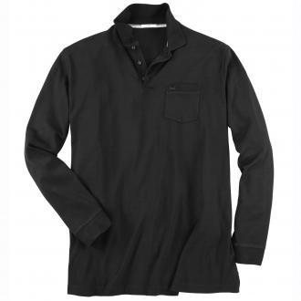 Leichtes Langarm-Poloshirt schwarz_02 | 3XL