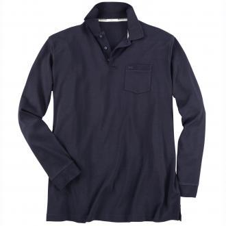 Leichtes Langarm-Poloshirt dunkelblau_22 | 3XL