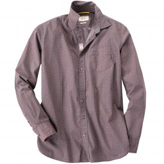 Freizeithemd gemustert, langarm rot_0043 | 5XL
